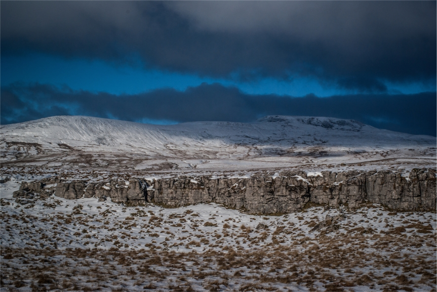 Snow covered Ingleborough from Little Ingleborough